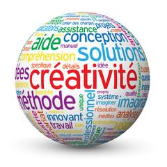 """Globe - Nuage de Tags """"CREATIVITE"""" (idée innovation imagination)"""