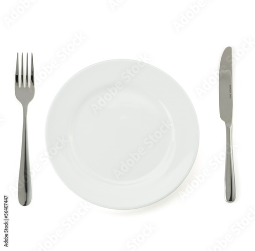 plate, knife and fork  on white