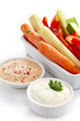 Fresh vegetables and dips