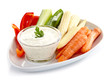Fresh vegetables and garlic dip