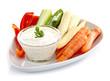 Fresh vegetables and garlic dip