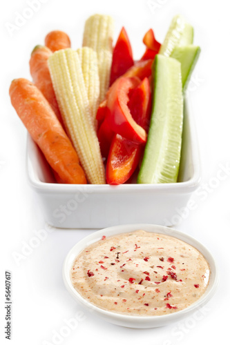 Fresh vegetables and taco dip