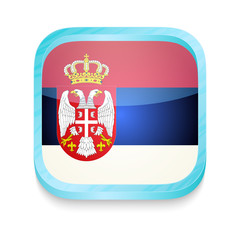 Smart phone button with Serbia flag