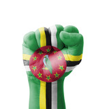 Fist of Dominica flag painted, multi purpose concept