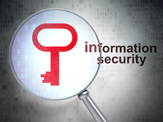 Security concept: Key and Information Security with optical glas