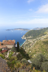 Eze village on a hill top, south of France.