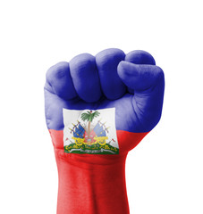 Fist of Haiti flag painted, multi purpose concept
