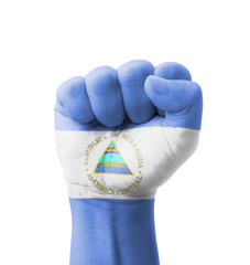 Fist of Nicaragua flag painted, multi purpose concept
