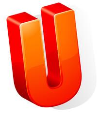letter U. ABC. Vector.