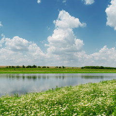 blue sky with clouds over river and meadow with chamomiles