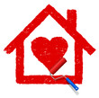 rotes Haus mit Herz malen