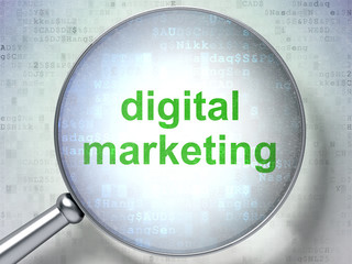 Marketing concept: Digital Marketing with optical glass