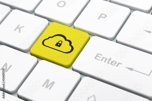 Cloud computing concept: Cloud With Padlock on computer keyboard