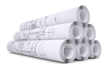 Scrolls of engineering drawings