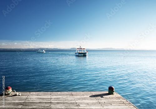Caribbean sea and wood pier