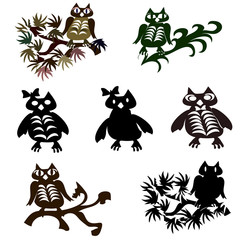 Set of vector halloween black owl.