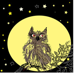 Owl, sitting on the tree. Vector.