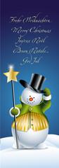 Schneemann mit internationalem Weihnachtsgruß