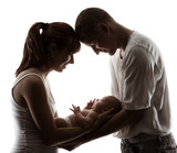 Family and newborn baby. Parents silhouette over white