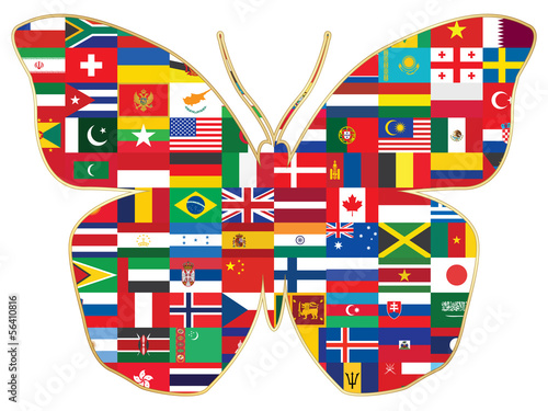 butterfly made of world flags