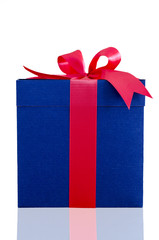 blue present box with red ribbon on white background