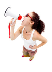 Woman holding megaphone and yelling