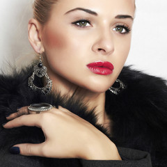 beautiful blond woman.Jewelry and Beauty.red lips