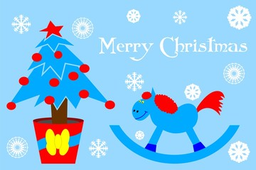 Greeting card with Christmas tree and blue wooden horse