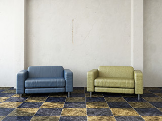 Blue and yellow chair