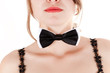 portrait of a beautiful woman with a bow tie