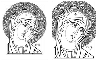 Virgin Oplechnaya outline11-12 vector picture