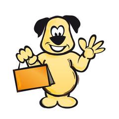 Hund winkt Shopping-Bag Einkaufstasche AI EPS PDF