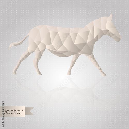 Poster Geometrische dieren Abstract triangular beige horse isolated on a white background