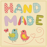 Vector bird applique hand made