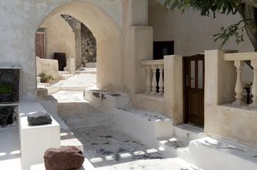 Kamari village on the island of Santorini in Greece.