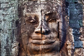 Ancient bas-relief at the Bayon temple, Cambodia