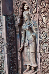 Ancient bas-relief at Banteay Srey Temple, Cambodia