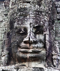 Ancient bas-relief at the Prasat Bayon temple, Cambodia