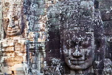 Ancient bas-reliefs at the Prasat Bayon temple, Cambodia