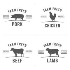 Set of vintage meat stamps