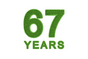 67 Years green grass anniversary number