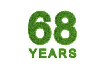 68 Years green grass anniversary number