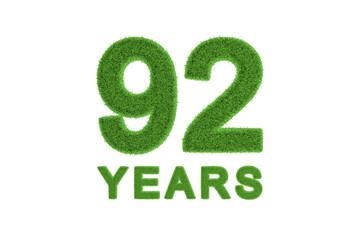 92 Years green grass anniversary number