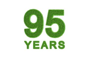 95 Years green grass anniversary number