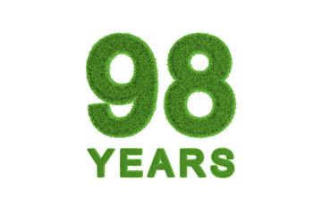 98 Years green grass anniversary number