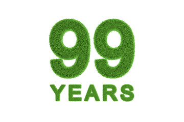 99 Years green grass anniversary number