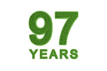 97 Years green grass anniversary number