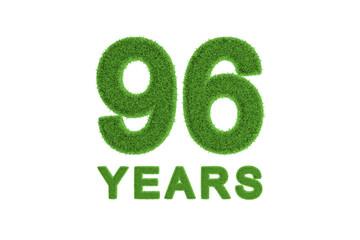 96 Years green grass anniversary number