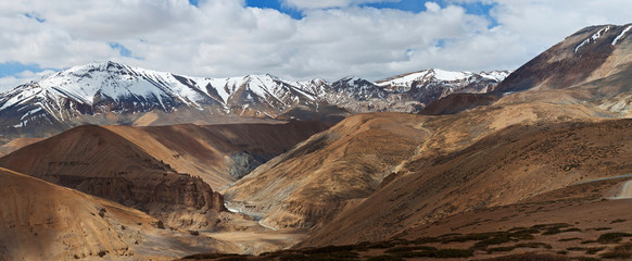 Panorama of mountain landscape in Ladakh, India