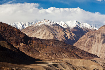 Panorama of mountain landscape in Ladakh, North India